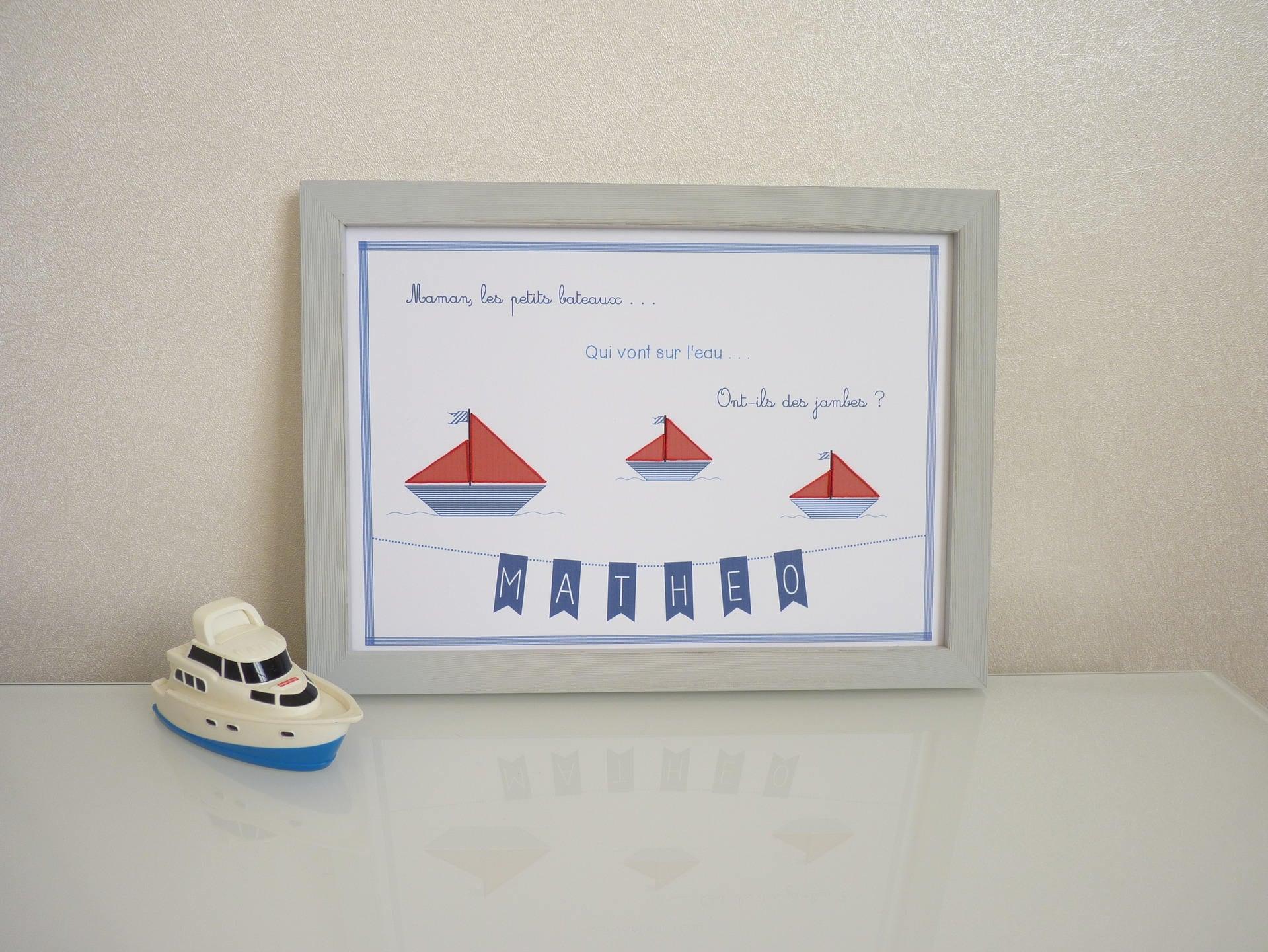 Affiche bateaux chambre d enfant th¨me Maman les