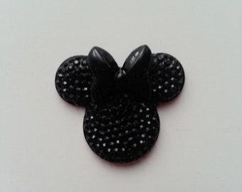 tête de souris minnie noir  30*25mm