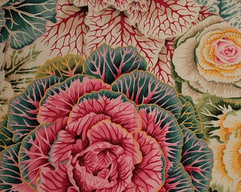 Embroidery Patchwork patterns cabbage Brassica designer P. Jacobs pink, yellow, blue, 25 cm X 55 cm - for patchwork, fashion accessory