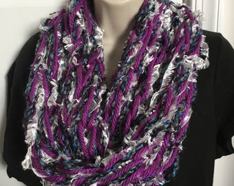 Hand Knit Double Loop Infinity Scarves 21-22