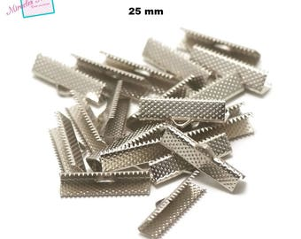 50 claws greenhouse Ribbon 25 mm silver plated end caps