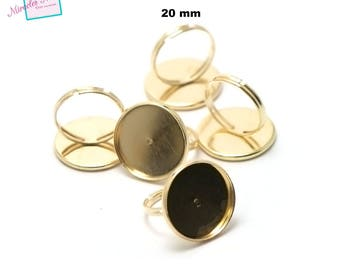 10 blank cabochon 20 mm, round ring gold