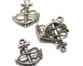"10 charms has ""anchor"" 24 x 18 x 3 mm, silver, 035"