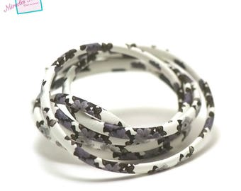 """1 m cord flat leather 5 mm """"flower"""", black/white lined"""