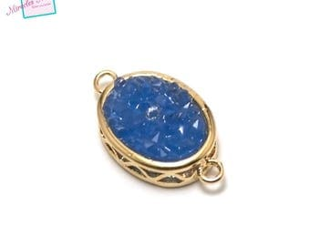 """1 connector oval gemstone """"blue agate 22 x 12 x 5 mm"""", gold"""