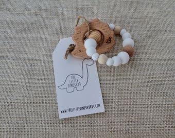 Hedgehog Infant/Toddler Teether With Silicone Beads - White