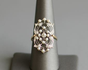 Antique Edwardian diamond and seed pearl platinum and 14k gold ring
