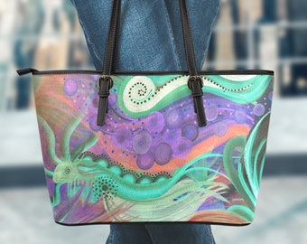 Large Vegan Leather Tote - Abstract01-06