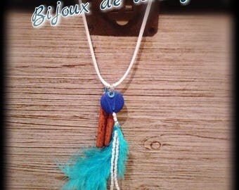 C7102: polymer clay necklace, feathers and wood