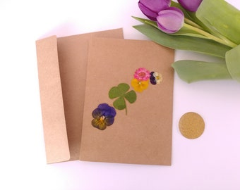Greeting/Note Card With Real Pressed Flowers (Blank Inside)