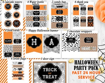 Halloween Party pack Orange black Halloween party decorations