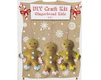 Sewing Kit to create three snowmen gingerbread / creative kids DIY Kit