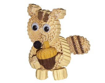 Creative Kit to make a squirrel with corrugated cardboard / corrugated creative animal DIY paper Kit