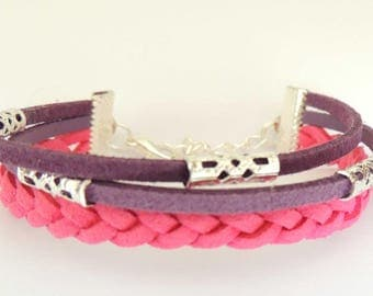 Fuchsia suede and purple MULTISTRAND bracelet
