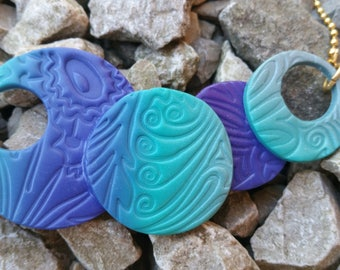 Fimo ombre turquoise, purple and silver necklace