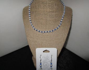 White Pearl Necklace & Earrings Set