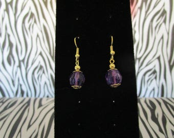 Purple & Gold Earrings