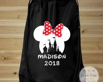 Disney Vacation Bag, Mickey Mouse Bag, Drawstring Bag, Mickey Mouse Backpack, Disney Bag, Drawstring Backpack, Disney Park Bag, Disney Tote