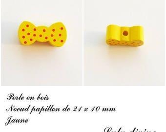 Wood 21 x 10 mm bead, Pearl flat bow tie: yellow