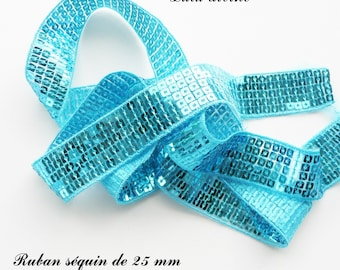 Ribbon / lace sequin glitter 25 mm, sold by 50 cm: Turquoise