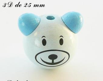 25 mm wooden bead, Pearl 3D Teddy bear head: light blue