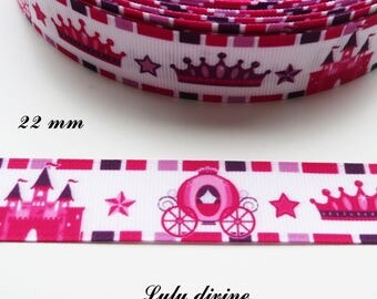 Gros-grain edging pink & Purple Ribbon Crown Castle carriage 22 mm sold by 50 cm