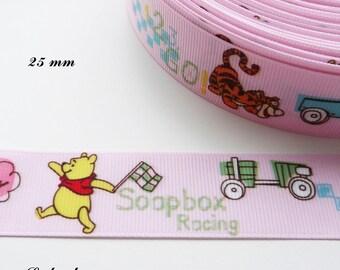 Grosgrain Pink Ribbon car Pooh Soapbox Racing 25 mm sold by 50 cm