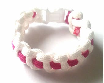 """Bracelet """"Paracord"""" pink and white with white tie"""