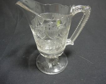 Antique Portland Glass Chain and Shield footed creamer