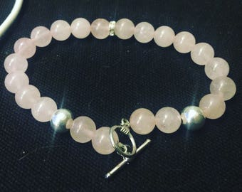 rose quartz and silver plated beads with sparkly rondelle toggle bracelet