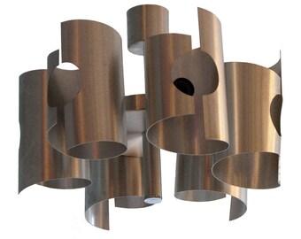 French Vintage aluminium ceiling light
