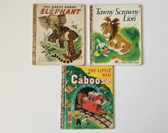 Vintage Set of 3 A Little Golden Books Saggy Baggy Elephant Tawny Scrawny Lion Little Red Caboose Children's Classic Stories