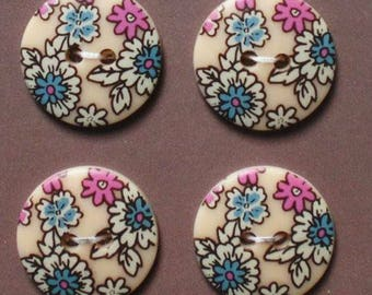 Beige 18 mm - 4 liberty novelty buttons sewing buttons beige flower - button stroke flowers beige background