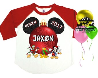Disney Christmas Shirt, Personalized Raglan Shirt, Many Colors, Toddler Youth Adult  (mc406)