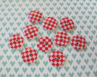 10 17mm checkerboard pattern wooden buttons
