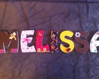 Letters names personalized and decorated wood MELISSA