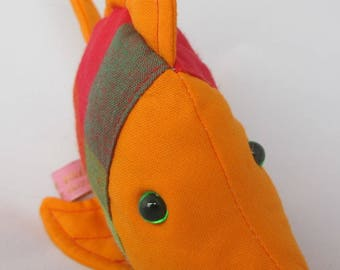 cuddly orange tropical fish and madras birth gift