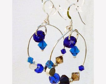 Fake hoop shades of blue Swarovski crystals and sterling silver findings