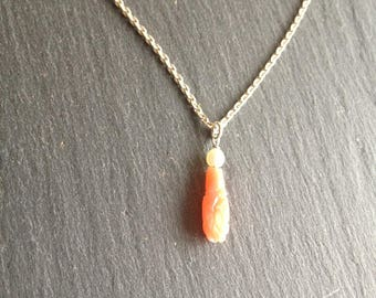 delicate silver necklace Pearl and drop coral