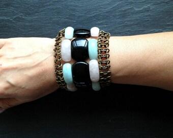 pastel and black stone Cuff Bracelet black blue pink