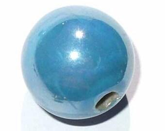 1 round ceramic bead blue 18 mm CERC25B