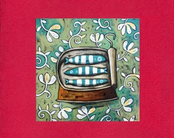 "Sardine Tin ""trio of sardines"" illustrated card"