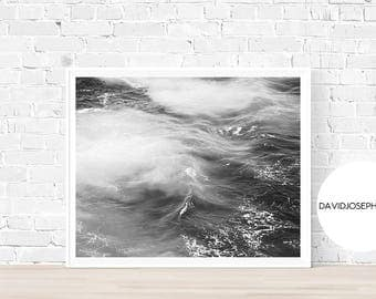Sea Print, Ocean Print, Black and White, Fog Print, Sea Wall Art, Ocean Wall Art, Wave Print, Ocean Decor, Digital Download, Sea Decor