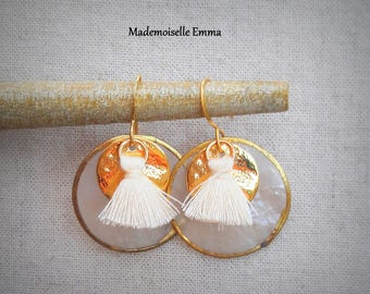 Golden metal, mother of Pearl and tassels dangling earrings
