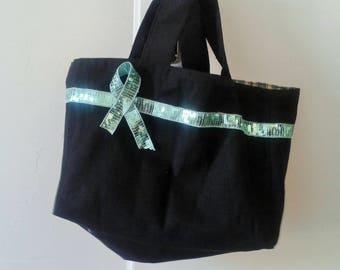 Small black and Plaid tote bag