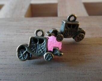 ♥ 6pces 15mm♥ bronze antique carriage charm