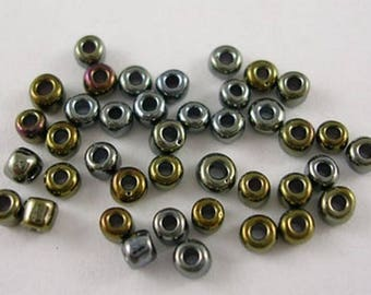 10gr rocaille Brown grey gold iridescent 2mm ♥