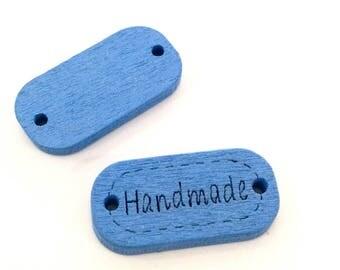 ♥ X 24mm HANDMADE wood button 1 blue ♥