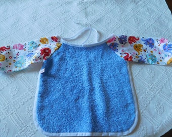 Terry bib has long sleeves 6/12 months elephant patterns.