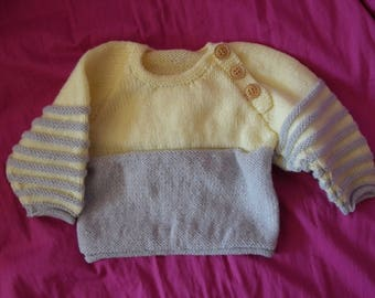 yellow and gray striped sweater